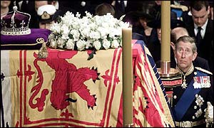 The Prince of Wales looks skywards during the funeral