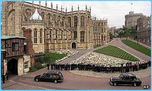 The coffin was laid to rest in Windsor