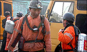 Miners rescued from an accident, March 2001