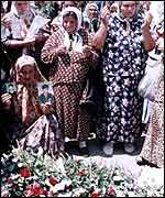 Widows from Srebrenica at the United Nations base in Potocari in July 1999, on the fourth anniversary of the Srebrenica massacre