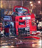 Scene after the Aldwych bomb