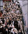 Morning commuters leaving a train