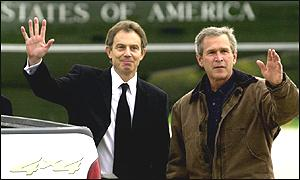Prime Minister Tony Blair meeting US President George Bush in Texas