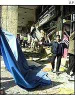 Damage from suicide bomb in Jersualem