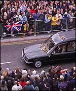 The Queen Mother's funeral cortege