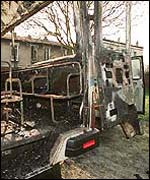 Burned Jewish school bus