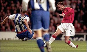 Pedro Duscher flies into a tackle on David Beckham leaving the Manchester United player with a suspected broken foot