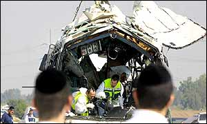 Investigators in the bus wreckage