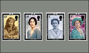 Set of commemorative Queen Mother stamps