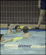 Children at a swimming lesson