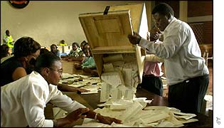 Votes being counted in the Zimbabwe election