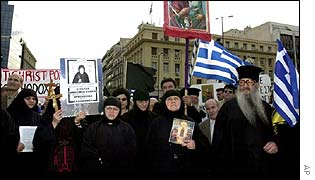 Greek clergy protest at Pope John Paul II's visit last year