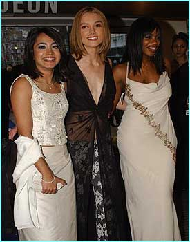 The three stars of Bend It Like Beckham, Parminder Nagra, Keira Knightley and Shaznay Lewis