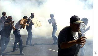 Tear gas surrounds the protesters