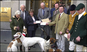 Members of the Countryside Alliance outside Defra building