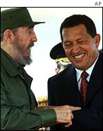 Fidel Castro (left) meets Hugo Chavez in Caracas, October 2000