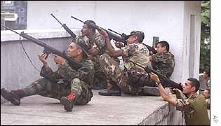 Troops on a roof opposite the Miraflores Palace