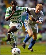 Momo Sylla is chased by Dunfermline's Andre Karnebeek