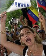 Demonstrating against the Chavez government