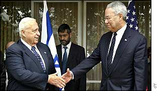 Israeli PM Ariel Sharon (left) with US Secretary of State Colin Powell