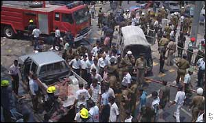 Scene of a bomb blast in Colombo