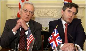 US treasury secretary Paul O'Neill and UK chancellor of the exchequer Gordon Brown