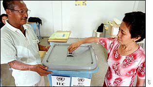 East Timorese polling staff practice how to vote at a polling station in Dili Tuesday, 9 April 2002