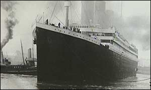 The Titanic moored in port before her catastrophic journey