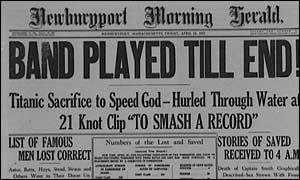 Newspaper headlines after the sinking of the Titanic