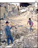 Boys amid the rubble in Jenin