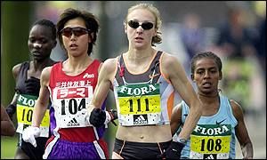 Britain's Paula Radcliffe sets the pace in the early section of the race