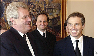 Milos Zeman and Tony Blair