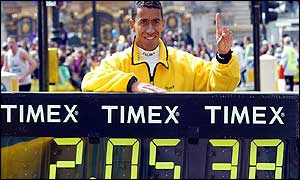 Khalid Khannouchi wins the 2002 London Marathon in record time