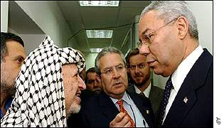 Yasser Arafat held talks with Colin Powell inside his compound