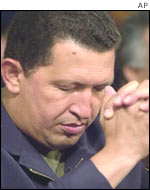 Venezuelan president Hugo Chavez during  a speech at Miraflores Palace