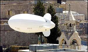 An Israeli surveillance balloon flies over the Church of the Nativity