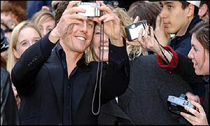 Actor Hugh Grant with fans outside Empire Leicester Square