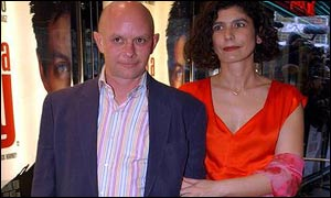 Author Nick Hornby and his partner arriving at the Empire Leicester Square