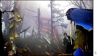 An investigator examines the wreckage