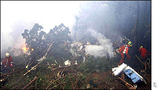 Firefighters search through the plane debris