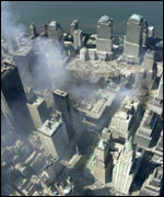 Aerial view of Ground Zero in lower Manhattan, New York