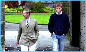 Prince Charles and Prince William on his first day at St Andrews