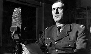 De Gaulle making wartime address from BBC