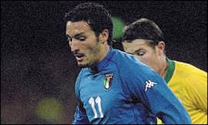 Gianluca Zambrotta of Italy in action for Italy in their Kappa kit