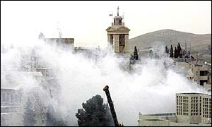 Smoke around the Church of the Nativity in Bethlehem