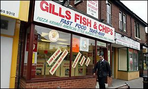 The chip shop is yards from Mrs Watson's home