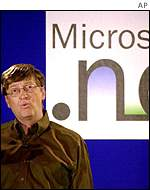 Bill Gates and .Net logo, AP