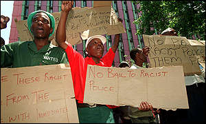 Protesters outside South African court