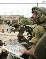 An Israeli soldier outside Jenin refugee camp