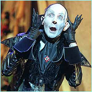 The child catcher played by Richard O'Brien is very scary